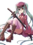 1girl 23-0 absurdly_long_hair black_gloves boots brown_footwear floating_hair gloves green_hair hair_between_eyes hair_ribbon hat hatsune_miku holding holding_sword holding_weapon jacket katana long_hair long_sleeves looking_at_viewer military_hat military_jacket miniskirt pink_jacket pink_legwear pleated_skirt purple_hat purple_skirt red_eyes red_ribbon ribbon senbon-zakura_(vocaloid) sheath sheathed skirt smile solo sword thigh-highs twintails very_long_hair vocaloid weapon wide_sleeves zettai_ryouiki