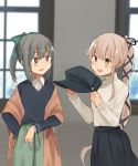 2girls alternate_costume annin_musou beret black_ribbon black_skirt black_sweater bow brown_eyes brown_shawl commentary_request cowboy_shot green_skirt grey_hair grey_hat hair_bow hair_flaps hair_ribbon hat hat_removed headwear_removed highres kantai_collection long_hair multiple_girls pink_hair ponytail ribbon shawl skirt sweater very_long_hair white_sweater window yura_(kantai_collection) yuubari_(kantai_collection)