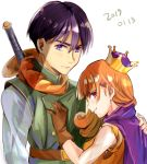 1boy 1girl alena_(dq4) breasts cape clift closed_mouth commentary_request crown curly_hair dragon_quest dragon_quest_iv gloves long_hair looking_at_viewer orange_hair red_eyes simple_background sword weapon white_background