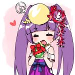 1girl :d bangs bare_shoulders blunt_bangs blush closed_eyes eyebrows_visible_through_hair facing_viewer flower hair_flower hair_ornament hakama headpiece heart holding japanese_clothes kimono long_hair open_mouth pikomarie purple_hair purple_hakama puzzle_&_dragons red_flower ribbon_trim smile solo twintails very_long_hair white_kimono yomi_(p&d)
