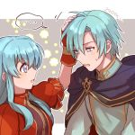 1boy 1girl 2900cm aqua_hair artist_name blue_eyes brother_and_sister eirika ephraim fingerless_gloves fire_emblem fire_emblem:_seima_no_kouseki from_side gloves hand_on_another's_head long_hair nintendo parted_lips red_gloves short_hair short_sleeves siblings