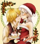 1boy 1girl antenna_hair blonde_hair blush breasts cleavage closed_eyes collarbone dress earrings elizabeth_liones food food_on_face from_side fur-trimmed_dress fur-trimmed_gloves fur-trimmed_hat fur_trim gloves grey_eyes harumiya hat holding holding_plate imminent_kiss jewelry long_hair long_sleeves meliodas nanatsu_no_taizai necktie plate red_dress red_gloves red_hat red_neckwear santa_gloves santa_hat shirt shocker silver_hair sleeveless sleeveless_dress strapless strapless_dress striped striped_background upper_body yellow_shirt