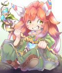 1other ambiguous_gender androgynous bare_shoulders beet0001 borushichi collarbone facepaint feathers full_body gem green_eyes hair_feathers hair_ornament highres holding holding_staff indian_style jewelry leaf loafers long_hair orange_hair popoi redhead seiken_densetsu seiken_densetsu_2 shoes simple_background sitting smile solo staff tunic very_long_hair weapon white_background