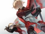 2boys artist_name black_gloves blonde_hair blood bloody_weapon blue_eyes cape dylan_the_island_king ethan_the_exiled_hero facial_hair fighting_stance frown glint gloves grey_cape holding holding_sword holding_weapon long_sleeves male_focus multiple_boys pixiv_fantasia_last_saga psyche_(arcadia) red_cape standing stubble surprised sword weapon