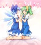2girls :d ascot ass bangs barefoot blue_bow blue_dress blue_eyes blue_hair blue_skirt blue_vest blush bow bowtie chima_q cirno commentary_request daiyousei dress eyebrows_visible_through_hair fairy_wings full_body green_eyes green_hair hair_bow highres ice ice_wings kneeling looking_at_viewer multiple_girls no_shoes open_mouth pinafore_dress pink_background profile puffy_short_sleeves puffy_sleeves red_bow red_neckwear shirt short_hair short_sleeves side_ponytail skirt skirt_set smile socks touhou vest white_legwear white_shirt wing_collar wings yellow_neckwear