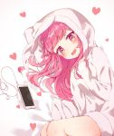 1girl animal_hood bangs bare_legs blunt_bangs blush bunny_hood commentary digital_media_player drooling heart heart-shaped_pupils hood hood_up ipod long_hair long_sleeves lying momingie on_bed on_side open_mouth original pink_eyes pink_hair smile solo symbol-shaped_pupils white_hoodie