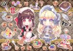 2girls :o apron bangs black_dress black_footwear blonde_hair blueberry blunt_bangs blush_stickers book bookmark brown_hair burning buttons cake candle capelet checkerboard_cookie chibi closed_mouth cookie cup cupcake dress eyebrows_visible_through_hair fire food frilled_apron frills fruit grey_capelet grey_dress grey_legwear ie_(nyj1815) ink inkwell juliet_sleeves kiwi_slice kiwifruit long_hair long_sleeves macaron maid maid_apron maid_headdress matches multiple_girls needle original pantyhose parted_lips pie puffy_sleeves quill red_eyes ribbed_legwear saucer scissors sewing_needle slice_of_cake smile spoon tea teacup teapot thread tiered_tray white_apron white_legwear yellow_eyes