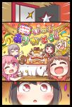 6+girls :o ;d \o/ ^_^ absurdres arms_up bang_dream! bangs black_hair blonde_hair blush brown_hair cake chocolate_cornet closed_eyes clothes_writing comic confetti cupcake food french_fries hair_ornament highres holding holding_tray kyou_(user_gpks5753) long_hair maruyama_aya minato_yukina mitake_ran multicolored_hair multiple_girls one_eye_closed open_mouth opening_door outstretched_arms party pink_eyes pink_hair pink_skirt red_eyes red_shirt redhead shirt short_hair short_sleeves shorts skirt smile star star-shaped_food star_hair_ornament streaked_hair streamers t-shirt tablecloth toyama_kasumi tray tsukishima_marina tsurumaki_kokoro u_u yellow_shirt