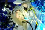 adelinez blue_background branch bug butterfly gideon_(pixiv_fantasia_last_saga) grey_eyes grey_hair hat highres insect knee_up magic miracera_master_of_the_magic_institute on_lap pixiv_fantasia_last_saga robe scroll silver_hair sitting smile white_hat white_robe yellow_eyes younger