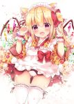 1girl :d animal_ear_fluff animal_ears apron bangs blonde_hair blush bow cat_ears claw_pose commentary_request crystal eyebrows_visible_through_hair fang fingernails flandre_scarlet floral_print flower frilled_apron frilled_legwear frills gluteal_fold hair_between_eyes hair_bow hands_up japanese_clothes kemonomimi_mode kimono long_hair long_sleeves looking_at_viewer maid_headdress open_mouth panties pleated_skirt print_kimono red_bow red_eyes red_skirt rikatan skirt smile solo thigh-highs touhou underwear wa_maid white_apron white_flower white_legwear white_panties wide_sleeves wings wrist_cuffs yellow_kimono
