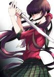 1girl @ artist_name bangs black_hair blunt_bangs commentary_request covered_mouth danganronpa eyebrows_visible_through_hair from_side hair_ornament harukawa_maki holding holding_sword holding_weapon katana long_hair looking_at_viewer low_twintails mole mole_under_eye new_danganronpa_v3 nyangorobei plaid plaid_skirt pleated_skirt red_eyes red_scrunchie red_shirt school_uniform scrunchie serafuku shirt simple_background skirt sleeves_rolled_up solo sword twintails very_long_hair weapon