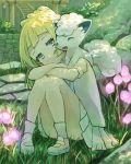 1girl absurdres alolan_form alolan_vulpix blonde_hair closed_mouth creatures_(company) crossed_arms flower game_freak gen_1_pokemon grass green_eyes highres knees_up lillie_(pokemon) long_hair nintendo outdoors peppedayo_ne pokemon pokemon_(anime) pokemon_(creature) pokemon_sm_(anime) shirt shoes short_sleeves sitting skirt smile socks vulpix white_legwear white_shirt white_skirt
