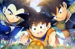 3boys :d :o armor backlighting black_eyes black_hair blue_sky broly_(dragon_ball_super) close-up clothes_writing clouds cloudy_sky commentary_request copyright_name crossed_arms daegwan_(db) dark_skin dark_skinned_male day dougi dragon_ball dragon_ball_(object) dragon_ball_super_broly egg expressionless face fingernails from_above frown gloves grass korean_commentary leaning_forward light_rays looking_down male_focus multiple_boys nest nyoibo open_mouth outdoors outstretched_hand serious short_hair sky smile son_gokuu spiky_hair sunlight tail tree upper_body upper_teeth vegeta white_gloves younger