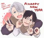 2019 2boys ake_(harlequin) black_hair blue-framed_eyewear blue_eyes brown_eyes glasses hair_over_one_eye happy_new_year jewelry katsuki_yuuri male_focus multiple_boys new_year open_mouth ring scarf shared_scarf silver_hair smile viktor_nikiforov yuri!!!_on_ice