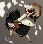 1girl amase_(yagami666) black_hair black_skirt blue_eyes blush book breasts full_body glasses large_breasts long_hair long_skirt looking_at_viewer messy_hair necktie open_mouth paper read_or_die red_neckwear shirt skirt solo vest yomiko_readman
