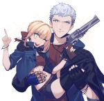 1boy 1girl black_gloves blonde_hair blue_rose_(gun) carrying crop_top cropped_jacket crossover devil_may_cry devil_may_cry_5 fate/extra fate_(series) gloves green_eyes gun highres holding jacket jewelry liangchanxingmingrixiang mechanical_arm midriff namesake necklace nero_(devil_may_cry) nero_claudius_(fate) nero_claudius_(fate)_(all) one_eye_closed pointing princess_carry shorts simple_background single_glove smile thigh-highs thighs ultra_asuka weapon white_background white_hair