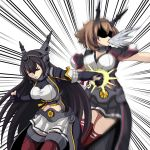 2girls black_coat black_gloves black_hair black_skirt brown_hair capelet collar commentary_request flipped_hair gloves hairband headgear highres kantai_collection long_hair metal_collar midriff miniskirt multiple_girls mutsu_(kantai_collection) nagato_(kantai_collection) partly_fingerless_gloves pleated_skirt radio_antenna red_eyes red_legwear short_hair skirt sleeveless thigh-highs tk8d32 white_skirt