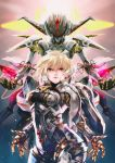 1girl bangs blonde_hair breasts cowboy_shot cyborg face_nemesis fiorun hair_between_eyes headgear highres lips mecha nintendo pink_lips red_eyes shioaji_(siolog) short_hair small_breasts smile solo spoilers xenoblade_(series) xenoblade_1