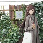 1girl bag bangs brown_eyes brown_hair bubble_tea closed_mouth commentary cup disposable_cup doran_(dorannomai) drinking_straw english_commentary english_text eyebrows_visible_through_hair fence grey_coat grey_sweater highres holding holding_cup idolmaster idolmaster_shiny_colors long_hair long_sleeves looking_at_viewer oosaki_amana paper_bag plant ribbed_sweater shopping_bag sign solo sweater very_long_hair