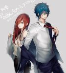 1boy 1girl black_pants blazer blue_hair blue_jacket blue_pants brown_eyes couple cowboy_shot dress_shirt earrings erza_scarlet facial_mark fairy_tail grey_background hair_between_eyes hair_over_one_eye highres jacket jellal_fernandes jewelry long_hair long_sleeves looking_at_viewer necklace necktie off_shoulder open_blazer open_clothes open_jacket pants parted_lips red_neckwear redhead shirt sleeveless sleeveless_shirt smile spiky_hair standing tattoo very_long_hair white_shirt yae_chitokiya