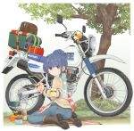 1girl blue_hair boots commentary_request cup denim eyebrows_visible_through_hair eyes_visible_through_hair ground_vehicle hair_bun highres holding ichigotofu jeans kneeling motor_vehicle motorcycle pants portable_stove scarf shima_rin solo suzuki tree yurucamp