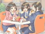 3girls anyasu black_hair black_legwear blazer blurry blurry_background blush bob_cut brown_eyes closed_eyes commentary eating food french_fries glasses hamburger highres jacket long_hair mcdonald's multiple_girls original pantyhose ponytail school_uniform short_ponytail sitting sleeves_past_wrists table