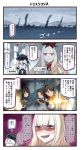 4koma 5girls ayanami_(kantai_collection) black_hair brown_hair comic destroyer_hime highres ido_(teketeke) kantai_collection long_hair lycoris_hime multiple_girls shikinami_(kantai_collection) shinkaisei-kan short_hair speech_bubble translation_request uranami_(kantai_collection) white_hair white_skin