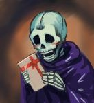 blush chanta_(ayatakaoisii) duel_monster gift happy highres holding holding_gift no_humans pun purple_robe robe skeleton skull_servant white_day yu-gi-oh!