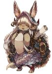 1other :3 animal_ears backpack bag baggy_pants bangs blush chobi_(sakuyasakuhana) claws commentary_request ears_through_headwear fang full_body furry hair_rings helmet horns long_hair made_in_abyss nanachi_(made_in_abyss) nose_blush open_mouth pants pouch rabbit_ears scroll sidelocks silver_hair simple_background smile solo standing tail tied_hair very_long_hair whisker_markings white_background yellow_eyes