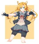 1girl abukuma_(kantai_collection) asymmetrical_bangs bangs baseu black_gloves black_jacket blonde_hair blue_eyes blush border buttons closed_mouth commentary cropped_legs dated double_bun english_text eyebrows_visible_through_hair gloves grey_sailor_collar grey_skirt hair_between_eyes hair_rings highres jacket kantai_collection long_hair looking_at_viewer neck_ribbon outstretched_arms partly_fingerless_gloves pleated_skirt pose red_ribbon remodel_(kantai_collection) ribbon sailor_collar short_sleeves shorts shorts_under_skirt simple_background skirt smile solo sweater twintails v-shaped_eyebrows white_border yellow_background yellow_sweater