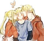 >_< 1girl 2boys ^_^ alphonse_elric apron blonde_hair blush blush_stickers brothers closed_eyes closed_eyes commentary_request edward_elric embarrassed eyebrows_visible_through_hair fullmetal_alchemist hand_on_another's_arm hand_on_another's_head heart height_difference hood hood_down hooded_jacket hoodie jacket long_hair long_sleeves looking_away multiple_boys nervous ponytail profile sandwiched short_hair siblings simple_background standing sweatdrop tsukuda0310 upper_body v-shaped_eyebrows white_background wide-eyed winry_rockbell yellow_eyes