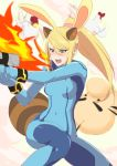 1girl absurdres animal_ears bangs beige_background blonde_hair blue_bodysuit blush bodysuit breasts commentary_request covered_navel cucco doseisan eyebrows_visible_through_hair fake_animal_ears feet_out_of_frame green_eyes gun hair_between_eyes handgun highres holding holding_gun holding_weapon kemonomimi_mode leon_(mikiri_hassha) long_hair mario_(series) medium_breasts metroid mother_(game) nintendo nose_blush pistol ponytail rabbit_ears raccoon_ears raccoon_tail samus_aran sidelocks simple_background solo super_smash_bros. swept_bangs tail the_legend_of_zelda the_legend_of_zelda:_majora's_mask thighs weapon zero_suit