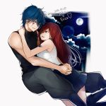 2018 absurdres black_shirt blue_hair blue_skirt blush brown_eyes character_name couple dated erza_scarlet eye_contact facial_mark fairy_tail floating_hair full_moon grey_pants hair_between_eyes hands_clasped hands_together heart highres index_finger_raised jellal_fernandes lens_flare long_hair looking_at_another miniskirt moon own_hands_together pants parted_lips pleated_skirt redhead shirt skirt sleeveless sleeveless_shirt smile tattoo very_long_hair white_background white_shirt yae_chitokiya