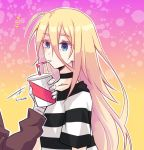 1boy 1girl bandage blonde_hair blue_eyes brown_sweater collarbone drinking drinking_straw eyebrows_visible_through_hair hair_between_eyes isaac_foster long_hair long_sleeves mao_(expuella) rachel_gardner satsuriku_no_tenshi shiny shiny_hair shirt short_sleeves striped striped_shirt sweater very_long_hair