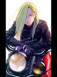 1girl alternate_costume arm_rest black_gloves black_jacket blonde_hair blue_eyes crossed_arms expressionless fullmetal_alchemist gloves ground_vehicle hair_over_one_eye hanayama_(inunekokawaii) jacket leather leather_gloves leather_jacket leather_pants long_hair looking_away motor_vehicle motorcycle olivier_mira_armstrong pants pillarboxed red_pants riding simple_background solo translation_request very_long_hair white_background