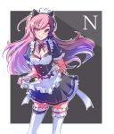 1girl alternate_costume animal_ears apron black_dress bow breasts brown_eyes brown_hair cleavage dress enmaided eyebrows_visible_through_hair fake_animal_ears frills heterochromia highres iesupa long_hair looking_at_viewer maid maid_apron maid_headdress medium_breasts multicolored_hair neo_(rwby) pink_eyes pink_hair puffy_short_sleeves puffy_sleeves rwby short_sleeves single_garter skirt smile solo standing thigh-highs waist_apron white_legwear wrist_cuffs