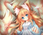 1girl absurdres animal_ear_fluff animal_ears bangs blonde_hair blue_eyes blue_jacket blush commentary_request cotton_swab dress fox_ears fox_girl fox_tail hair_between_eyes highres jacket kyuubi lap_pillow_invitation large_tail long_hair looking_at_viewer macaroni710 multiple_tails original sidelocks smile solo tail very_long_hair white_dress