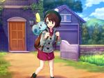 1girl backpack bag bangs blue_eyes blue_sky bob_cut boots brown_bag brown_eyes brown_footwear brown_hair building cardigan clouds cloudy_sky creatures_(company) door dress eye_contact female_protagonist_(pokemon_swsh) forest game_freak gen_8_pokemon grass green_hat green_legwear grey_sweater hat house long_sleeves looking_at_another mountain nature nintendo open_mouth outdoors pink_dress plant pokemon pokemon_(creature) pokemon_(game) pokemon_swsh scenery shiny shiny_clothes shiny_hair shiny_skin short_hair shouhei sky smile sobble socks sweater tam_o'_shanter walking window