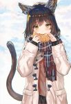 1girl animal_ears bangs black_hair blush cat_ears cat_tail clouds coat commentary_request day duffel_coat eating eyebrows_visible_through_hair food green_eyes highres holding holding_food long_hair long_sleeves looking_at_viewer open_clothes open_coat original outdoors plaid plaid_scarf ran'ou_(tamago_no_kimi) scarf sky solo tail taiyaki upper_body wagashi winter_clothes winter_coat