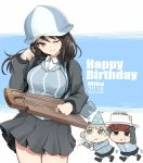 3girls :t aki_(girls_und_panzer) blue_headwear blue_jacket blue_shirt brown_eyes brown_hair cake character_name chibi closed_mouth collared_shirt commentary dated dress_shirt english_text eyebrows_visible_through_hair food food_on_finger girls_und_panzer green_eyes grey_skirt hand_in_hair hat head_tilt holding holding_food holding_instrument instrument jacket kasai_shin keizoku_military_uniform keizoku_school_uniform light_brown_hair long_hair long_sleeves looking_at_viewer mika_(girls_und_panzer) mikko_(girls_und_panzer) military military_uniform miniskirt motion_lines multiple_girls one_eye_closed open_clothes open_jacket party_hat party_popper pleated_skirt raglan_sleeves school_uniform shirt short_twintails skirt smile standing striped striped_shirt track_jacket twintails uniform vertical-striped_shirt vertical_stripes walking white_shirt zipper