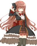 1girl arm_up black_legwear braid brown_hair closed_eyes frilled_skirt frills gothic_lolita hair_ribbon highres lolita_fashion long_hair magia_record:_mahou_shoujo_madoka_magica_gaiden mahou_shoujo_madoka_magica ribbon rikopin satomi_touka simple_background skirt smile solo thigh-highs white_background