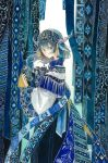 1girl aqua_eyes aqua_hair commentary_request expressionless floating_hair from_side hair_between_eyes highres kamura_gimi long_hair long_sleeves looking_at_viewer original patterned scroll signature solo traditional_media watercolor_(medium) wide_sleeves