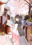 1girl architecture blue_eyes bow brown_hair bullet_print bush cherry_blossoms closed_mouth commentary_request cowboy_shot day drill_hair drill_locks east_asian_architecture fingers_together floral_print flower frilled_bow frills from_behind garden girls_frontline hair_bow hair_flower hair_ornament hill house howa_type_64_(girls_frontline) hsubo japanese_clothes kanzashi kimono long_hair looking_at_viewer looking_back obi outdoors pink_bow pink_kimono porch rooftop sash smile solo stairs stone_stairs tile_roof town tree very_long_hair