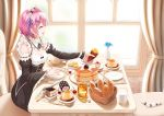 1girl :d blush bread breasts cake cherry cleavage closed_eyes commentary_request damao_yu day detached_collar detached_sleeves flower food fruit hair_flower hair_ornament hair_ribbon highres honey maid maid_dress maid_headdress milk open_mouth pancake pink_hair pudding purple_ribbon ram_(re:zero) re:zero_kara_hajimeru_isekai_seikatsu ribbon short_hair smile solo sparkle sweet_potato wide_sleeves x_hair_ornament