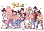 6+boys alternate_costume apple bag bandanna bardock black_eyes black_hair broly_(dragon_ball_super) brothers carrying carrying_bag carrying_over_shoulder clothes_around_waist commentary_request crossed_arms dark_skin dated denim dragon_ball dragon_ball_super_broly dragonball_z eating father_and_son food fruit full_body grandfather_and_grandson jacket_around_waist jeans king_vegeta long_hair minion_(1103_3) multiple_boys nappa number pants petals pig profile raditz sandals scar shadow shoes short_hair shorts siblings simple_background sneakers son_gohan son_gokuu son_goten spiky_hair trunks_(dragon_ball) tullece uncle_and_nephew vegeta very_long_hair walking white_background