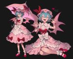 1girl absurdres artist_name bat_wings black_background blue_hair blush bow dated dress fangs fingernails freng frilled_legwear frills hands_up hat hat_ribbon heart highres looking_at_viewer mary_janes mob_cap multiple_views open_mouth parasol pink_dress pink_footwear pointy_ears red_bow red_eyes red_footwear red_ribbon remilia_scarlet ribbon sharp_fingernails shoes short_hair signature simple_background sitting sleeveless smile touhou umbrella wings wrist_cuffs