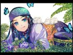 1girl ainu ainu_clothes araiguma_(gomipanda123) asirpa bandanna bird black_hair blue_eyes blue_gloves border bug butterfly chick earrings fingerless_gloves flower gloves golden_kamuy hat highres hoop_earrings insect jewelry licking_lips long_hair lying on_stomach plant solo straight_hair tongue tongue_out wide_sleeves