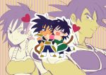 1boy 1girl :/ :d ^_^ armor bardock black_eyes black_hair blush blush_stickers boots breasts chibi chuya_hukuaka closed_eyes closed_eyes couple dragon_ball dragon_ball_super_broly full_body gine heart hetero hug looking_at_another looking_back medium_breasts monochrome open_mouth profile scar short_hair smile standing striped striped_background tail two-tone_background wristband