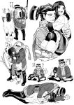 1boy 1girl ainu ainu_clothes asirpa asu_(asoras) back backpack bag bandanna boots bow_(weapon) cape carrying coat earrings facial_scar fingerless_gloves fur_boots fur_cape gloves golden_kamuy greyscale gun hair_slicked_back hat hat_removed headwear_removed highres hoop_earrings indian_style jewelry long_hair long_sleeves looking_afar lying military_hat monochrome multiple_views on_lap on_side open_mouth pants pointing princess_carry rifle satchel scar scarf short_hair simple_background sitting sleeping sleeping_on_person smile snoring speech_bubble spooning stick straight_hair sugimoto_saichi weapon white_background wide_sleeves