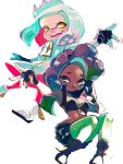 +_+ 2girls :d black_footwear black_gloves black_shorts boots breasts cleavage closed_mouth dark_skin dress fingerless_gloves gloves green_eyes green_hair green_legwear headphones hime_(splatoon) iida_(splatoon) legwear_under_shorts long_hair looking_at_viewer medium_breasts mole mole_under_mouth multicolored_hair multiple_girls octarian open_mouth pantyhose pink_legwear purple_hair shioaji_(siolog) short_hair shorts sleeveless sleeveless_dress smile splatoon splatoon_(series) splatoon_2 suction_cups symbol-shaped_pupils teeth tentacle_hair two-tone_hair v-shaped_eyebrows white_background white_dress white_footwear white_hair yellow_eyes zipper zipper_pull_tab